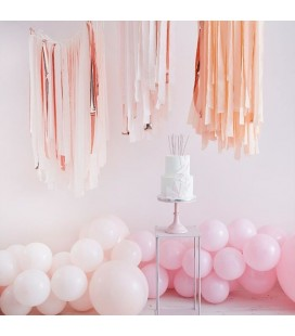 Blush & Rose Gold Luxe Party Streamers Backdrop