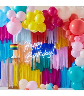 Rainbow Streamers and Balloons Backdrop