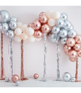 Mixed Metallic Balloons and Streamers Arch Kit