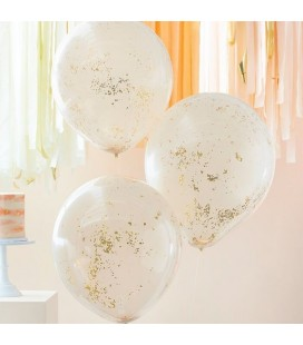 3 Peach with Rose Gold Micro Confetti Balloons