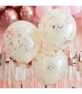 3 Cream with Rose Gold Micro Confetti Balloons