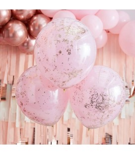 3 Pink with Rose Gold Micro Confetti Balloons