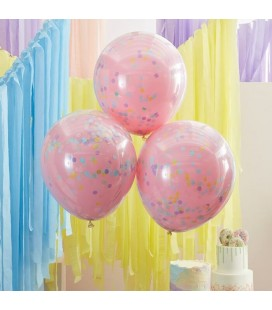 3 Pink with Pastel Confetti Balloons