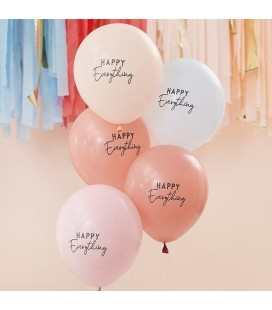 5 Happy Everything Balloons - Muted Pastel