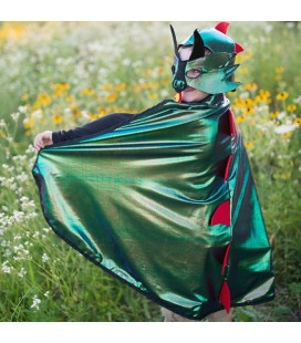 Dragon Knight Green/Silver Reversible Cape 5-6 years