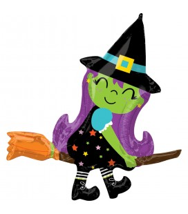 SuperShape Cute Witch on Broom Foil Balloon