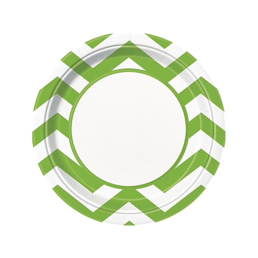 8 Lime Chevron Dinner Plates