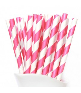 24 Magenta Striped Paper Straws