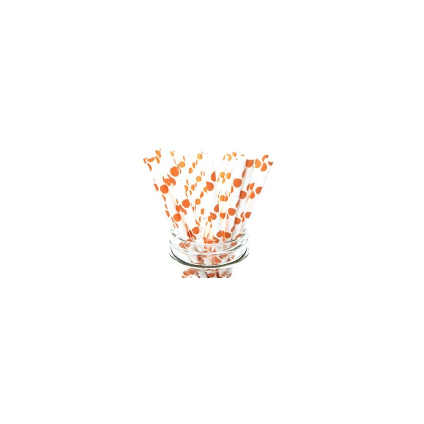 25 Orange Polka Dots Paper Straws