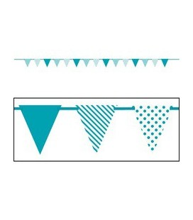 Turquoise Dots & Stripe Flag Banner
