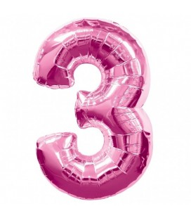 Pink Mylar Balloon Number 3