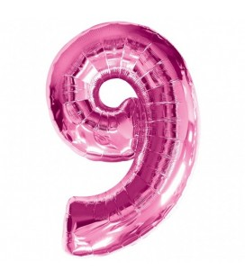 Pink Mylar Balloon Number 9