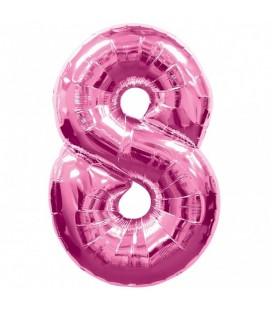 Pink Mylar Balloon Number 8