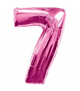 Pink Mylar Balloon Number 7