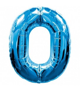 Blue Mylar Ballon Number 0