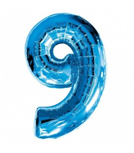Blue Mylar Ballon Number 9