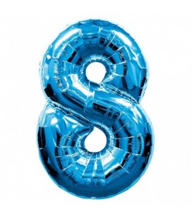 Blue Mylar Balloon Number 8