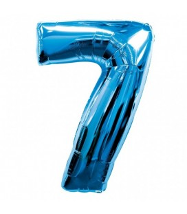 Blue Mylar Balloon Number 7