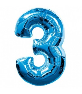 Blue Mylar Ballon Number 3