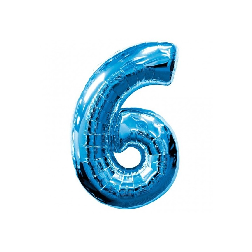 Blue Mylar Ballon Number 6