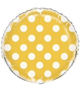 Yellow Polka Dots Mylar Balloon