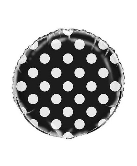 Black Polka Dots Mylar Balloon