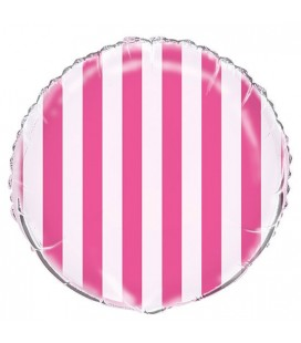 Magenta Stripes Mylar Balloon