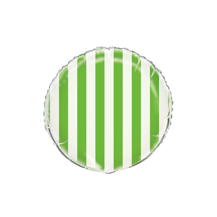 Lime Stripes Mylar Balloon