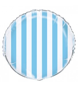 Baby Blue Stripes Mylar Balloon