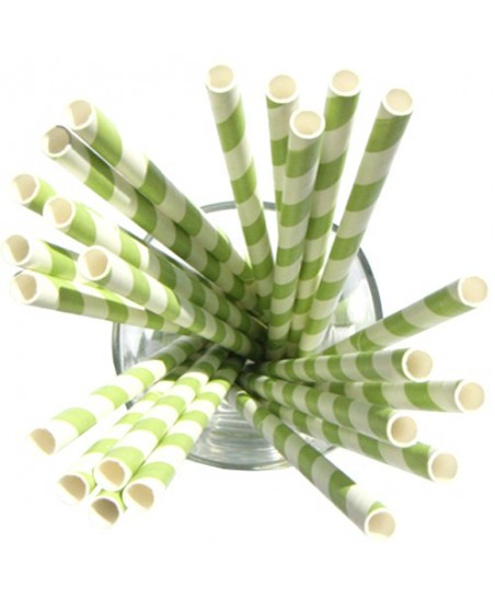 24 Green Striped Paper Straws