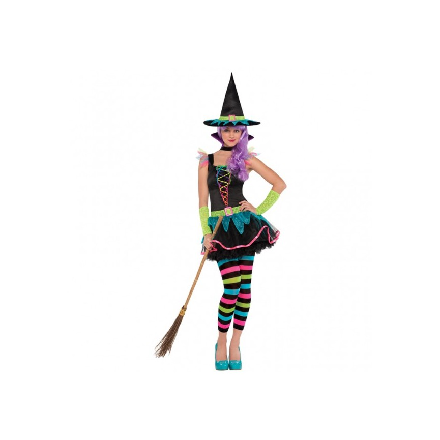 Neon Witch Costume - Size Teens/M