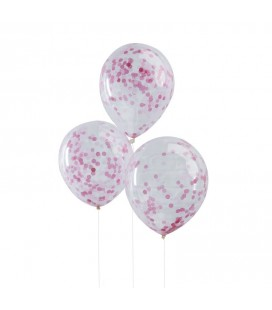 6 Pink Confetti Balloons