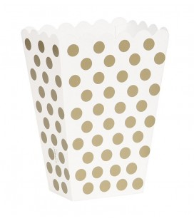 8 Gold Polka Dots Treat Boxes