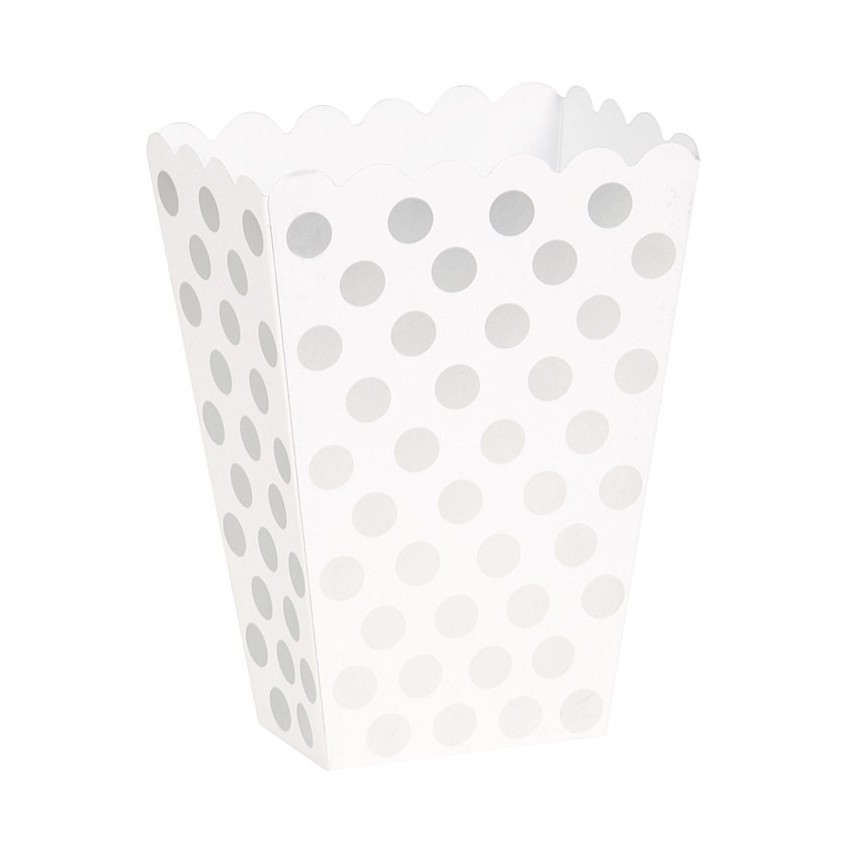 8 Silver Polka Dots Treat Boxes