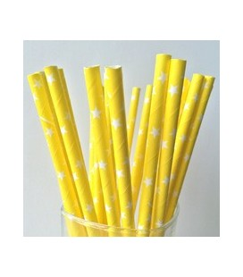 25 Yellow Star Paper Straws