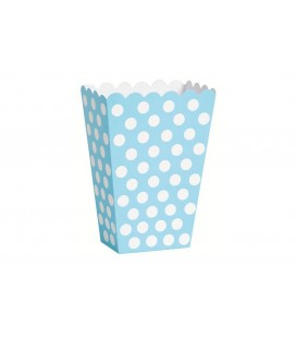 8 Baby Blue Polka Dots Treat Boxes