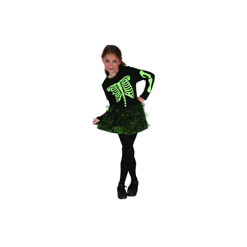 Green SkeletonGirl Costume for kids 5-6 years