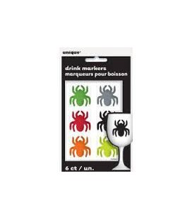 6 Spider Cling Drink Markers