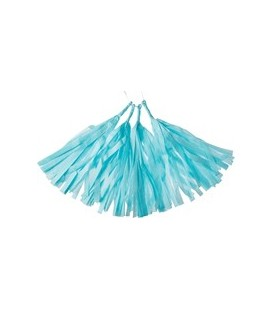 4 Light Blue Tassels