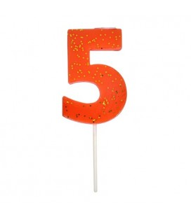 Number 5 Coral Candle