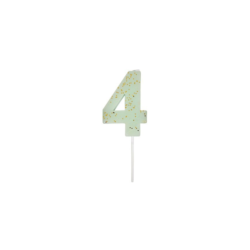 Number 4 Mint Candle