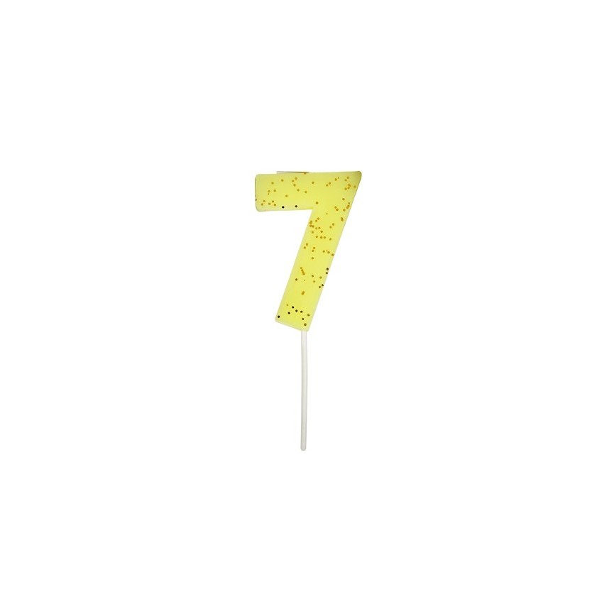 Number 7 Yellow Candle