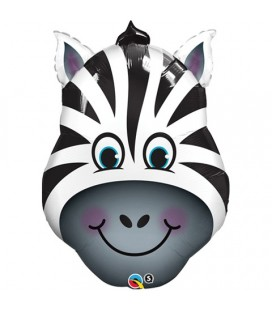 Zebra Head Mylar Balloon