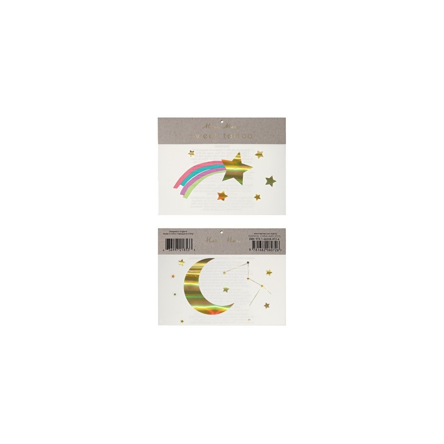 2 Rainbow & Shooting Sar Temporary Tattoos