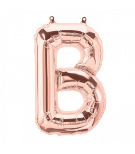 Rose Gold B Mylar Balloon