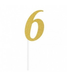 Gold Glitter Topper Number 6