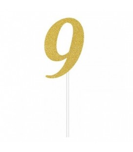 Gold Glitter Topper Number 9