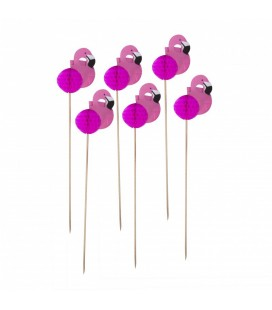 12 Pink Flamingo Toppers