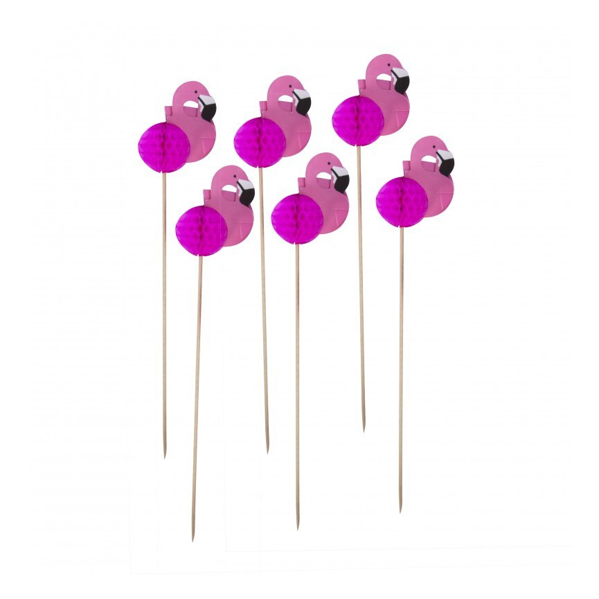 12 Rosa Flamingo Toppers