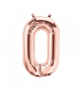 Rose Gold Mylar Balloon Number 0